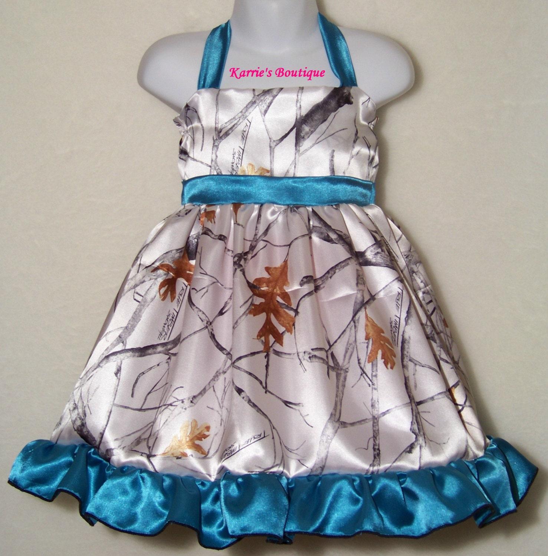 CAMO Flower Girl Dress Snow Camo Teal Blue Halter