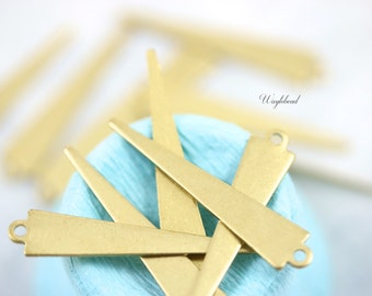 Raw Brass Long Triangle Charms Jewelry Findings 33x6mm Geometric Stampings - 6