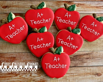 Teacher Appreciation Apples! Back to School, One dozen (12) Custom Decorated cookies