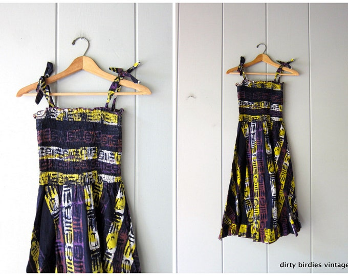African Print Batik Sundress Purple Yellow Smocked Sundress Boho Flirty Summer Tribal Ethnic Midi Dress Vintage Womens Small Medium
