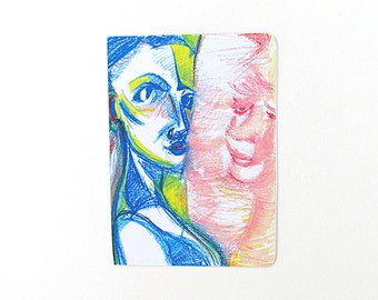 Limited Edition ACEO Print  - Self - Portrait on a white paper- Limited Edition