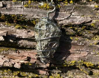 Pyrite Wire Wrapped in Silver