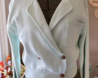 Vintage SM Light Blue Knit Double Breasted Cropped Cardigan, Sky Blue Sweater