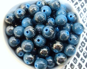 20x 12mm Blue and Silver Super Shiny Resin Juicy Globe beads   Metallic Two Tone