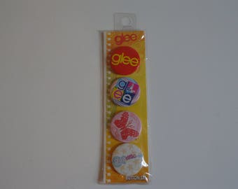 Glee TV Show Logo 4 Button Pinback Pin Flair Gleek Destash Sale! New in Package Party Favors Collectible Gifts for Music Fans