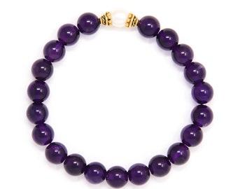 Buddhist Mala Bracelet, Yoga Bead Bracelet, Spiritual Jewelry, Amethyst & Freshwater Pearl - Healing, Emotional Balance, Spirituality