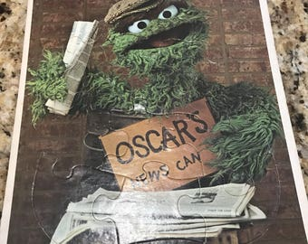 Vintage Oscar the grouch, Sesame Street frame tray puzzle.