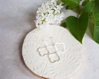 Double Bloom Earrings, Solid Silver Moroccan Earrings, Minimalist Flower Earrings.