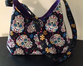 Sugar skull purse, Black sugar skull bag, Day of the dead Crossbody bag
