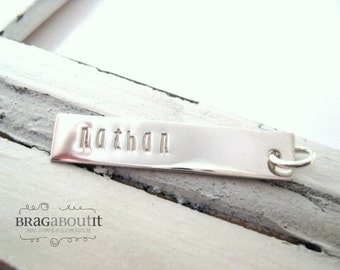 A La Carte . Hand Stamped Sterling Rectangle Tag . Brag About It