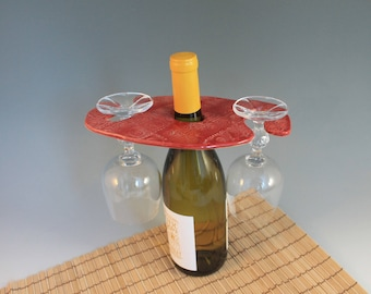 Wine  bottle Glass Holder -  glass holder for wine bottle - red - ceramic - hostess gift
