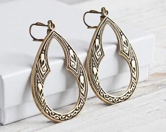 Antiqued Brass Earrings, Large Dangle Earrings on Antiqued Brass Hooks, Teardrop Earrings, Boho Chic Jewelry