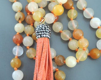 Jasper Necklace - Beaded Necklace - Tassel Necklace - Leather Necklace - Gemstone Necklace - Long Necklace - Boho Necklace - handmade