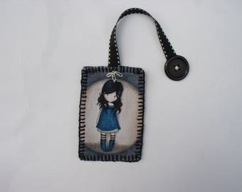 Bookmark blue girl and her black button