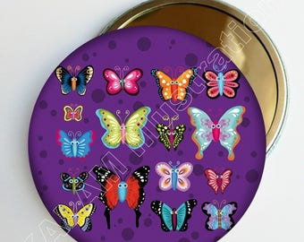 "Pocket mirror ""Butterflies"" Purple multicolored, round purse mirror, girl gift"