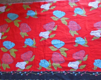 Fabric Cotton Floral Print on Red with Border , 4 yds