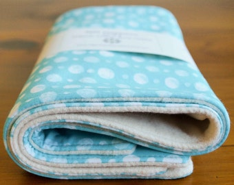 Burp Cloth Baby SALE; Organic Polkadot Dribble Cloths; Blue Polka Dot Burping Pads; Gifts for Nursing Mom; Baby Shower Gift; Double Dot Aqua