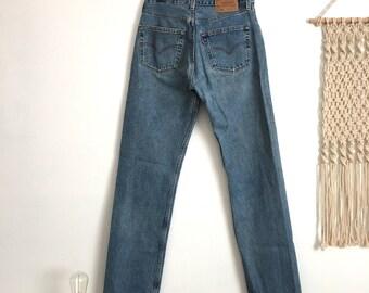 SALE Vintage Levis 501 high waisted jeans, light medium blue wash, size 28 / 29