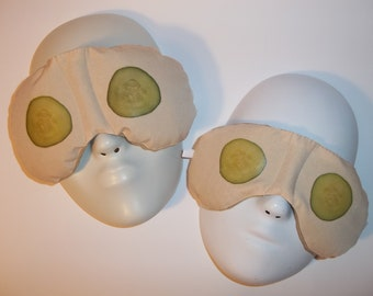 Herbal Hot/Cold Therapy Sleep Masks Mommy & Me Set with adjustable and removable strap Cucumber Treatment