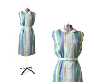 60s Stripe Dress / 1960s Dress / Stripe Dress /  Dress / Print Dress / Women Clothing Day Dresses / Vintage Clothing Dresses