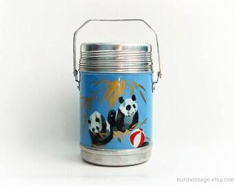 Vintage 70s Vacuum Bottle Panda / Vintage Thermos / Vacuum Flask / Soup Tea Coffee