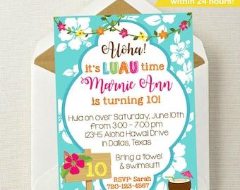 Luau Invitation // Luau Birthday Invitation // Hawaiian Party Invitation // Hula Invitation // Summer Party Invitation / Hula On Over Invite