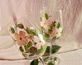Free shipping Dogwood blossoms wine glasses hand painted