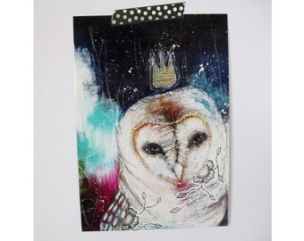 owl glossy oversized postcard poster print owl bird painting art print A5 size - an owl story