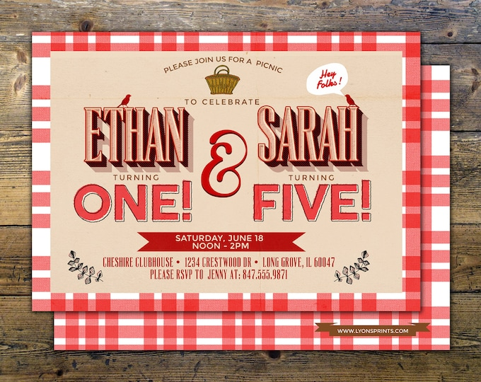BBQ, Burgers, Picnic Birthday Invitation, Summer Birthay Invitation, Red Gingham Invitation, Wood and Gingham, Picnic Invitation,