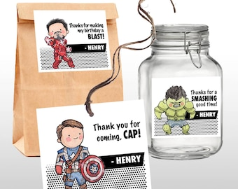INSTANT DOWNLOAD Marvel Avengers Birthday Party Favor Tags, Thank You Tags, Marvel Superhero Characters, PRINTABLE, 3 .pdf files