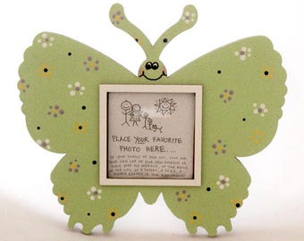 Butterfly Picture Frame - Hand Painted Wooden Frame