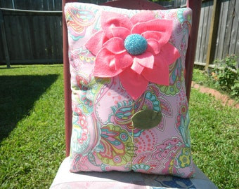 "12"" x 17"" - Stuffed Pillow - Felt flower with Turquoise beaded center"