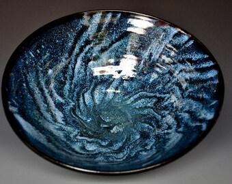 Turbulent Blue Ceramic Salad Bowl Pottery Serving Pasta C