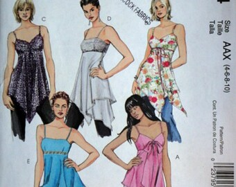McCall's 5004 easy Sewing Pattern, Misses' Lined Tops and Tunics, Sizes 4-6-8-10, Bust 29.5-30.5-31.5-32.5, Uncut FF, Summer Fashion