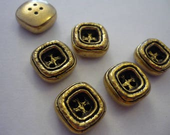 6 square gold 15 mm metal button