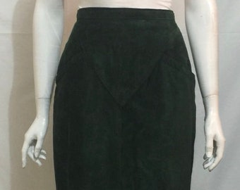 Vintage 70's Danier Emerald Green Suede Leather  Midi Skirt Size 12