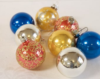 Vintage Glass Christmas Ornaments by Pyramid silver gold red and blue Lot of eight