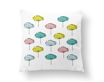 Colorful Dandelions Pillow, Flower Illustration Pillow, Home Decor, Cushion Cover, Throw Pillow, Bedroom Decor,Bed Pillow, Decorative Pillow