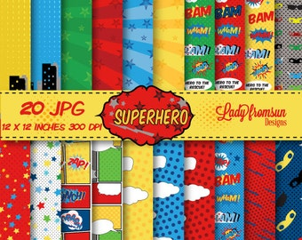SuperHero Digital Paper Pack Comic Book Pages,Action Words,Comic Sound Effects,Scrapbook Paper and Backgrounds Commercial-Personal Use