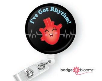 Haley Heart - Cardiac Nurse Badge Pull - Cute Badge Reels - CVU Retractable ID Badge Holder - Nurse Humor - Telemetry Nurse - BadgeBlooms