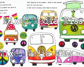 Campervans, Peace and Bunting - Collage Mixed Media digital download - Art Journal - Scrapbooking - Volkswagen - VW