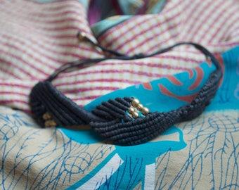 Simple Black Macrame Bracelet, Macrame Bracelet, Macrame Ankle Bracelet, Simple