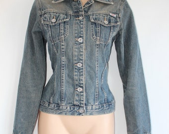 Vintage Blue Denim S. OLIVER Italian Faded Western Cowboy Fitted Women's Jeans Jacket Size XS-S / UK8 - UK10