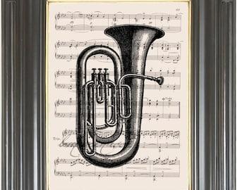 Bass tuba digital wall art print on dictionary or music page Dictionary page art  Wall decor Sheet music page art Music decor No 981