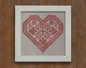 INSTANT DOWNLOAD Flowering Heart Valentine's Day PDF counted cross stitch patterns by Modern Folk at thecottageneedle.com monochromatic