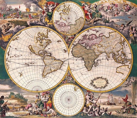 Vintage old world map illustration 18th century digital image vintage old world map illustration 18th century digital image download sheet transfer to fabric or print on paper no 010 from memoriespictures on etsy gumiabroncs Images