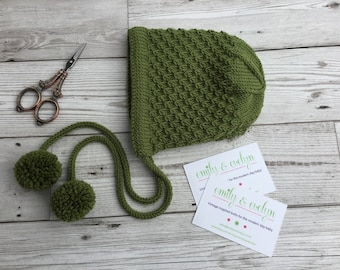Hand knitted bonnet/ Hand knit baby hat/ Merino wool baby bonnet/ Olive green baby bonnet. READY TO SHIP.