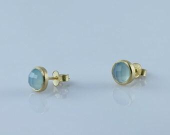 Aqua Green Chalcedony Gemstone Bezel Stud Earrings, Natural Gemstone Bezel Set Stud Earrings, Faceted Gemstone Earrings, Bezel Set Earrings