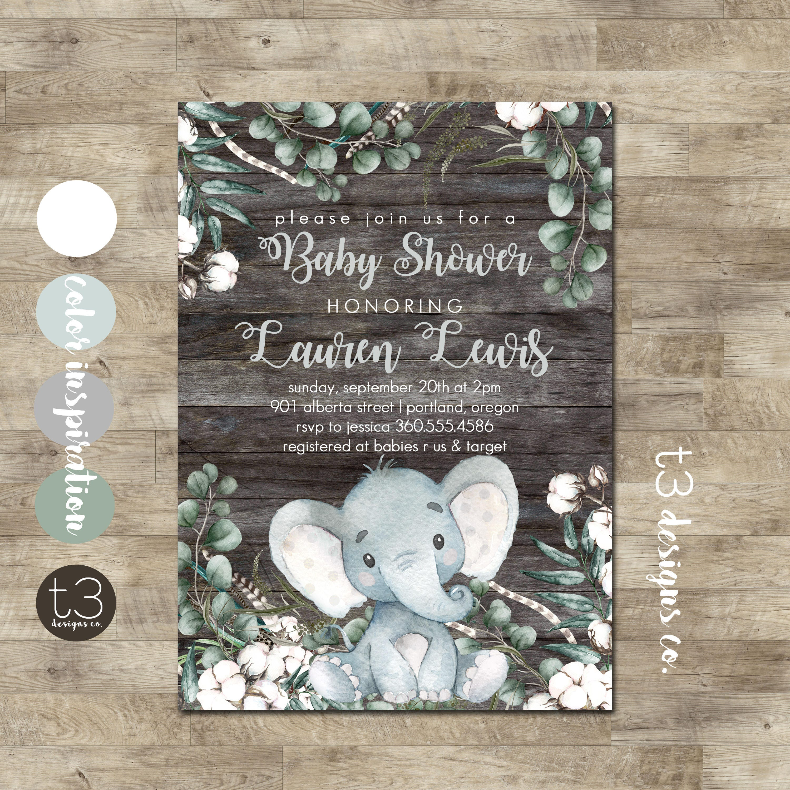 Elephant Baby Shower Invitation Rustic Gender Neutral Baby Shower