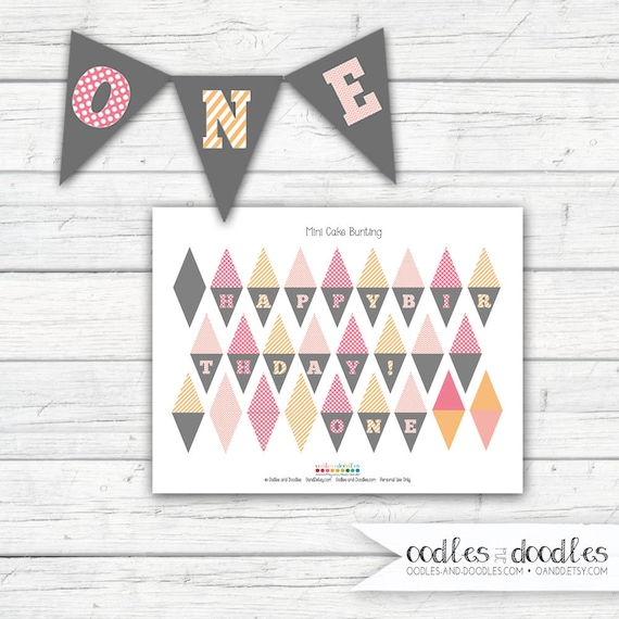 Mini Cake Bunting Pink and Orange First Birthday Cake